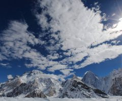 A majestic view of Broad Peak and Gasherbrum IV