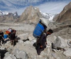 Porters marching towards Urdukas during Baltoro Trek
