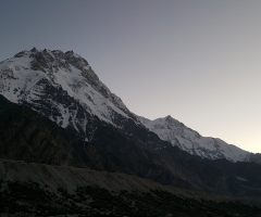 During sunrise on Nanga Parbat